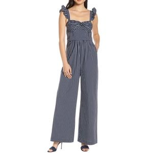 NWT Chelsea28 Striped Ruffle Sleeve Jumpsuit
